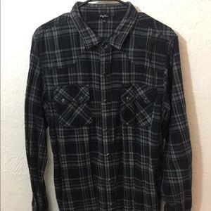 LRG Wovens Mens L Western Pearl Snap Shirt Plaid